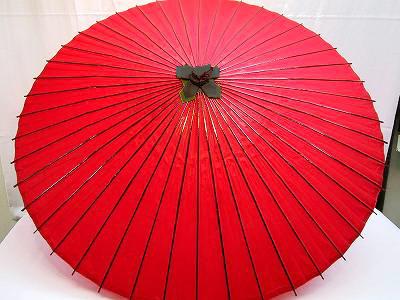 和傘 上蛇の目 無地 赤